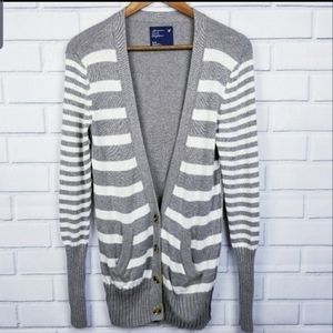AEO Gray White Striped V-Neck Button Up Cardigan